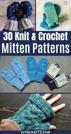 These crochet and knit mitten patterns are ideal for keeping big and little hands warm all winter! Check out this complete list and begin crocheting today! This list of cozy mitten patterns is perfect for beginner crocheting. Grab your free patterns today! #CrochetMittens #KnitMittens #CrochetPatterns #KnittingPatterns #CrochetAccessories #CrochetGloves Crochet Mittens Pattern, Crochet Gloves, Knit Mittens, Knit Or Crochet, Knitting Patterns, Crochet Patterns, Crochet Accessories, Hand Warmers, Warm And Cozy