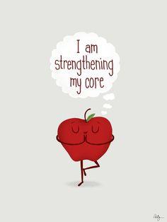 Apple Core Workout by Phil Jones #Illustration #Humor #Yoga #Apple