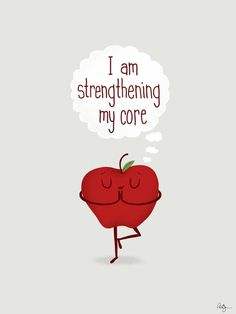 Apple Core Workout by Phil Jones #Illustration #Humor #Yoga #Apple
