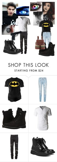"""""""Jeff Winchester meets Liz daughter of Castiel"""" by firecutie ❤ liked on Polyvore featuring Changes, Topman, Timberland, LE3NO, Yves Saint Laurent, Prada, The Sak and All Black"""
