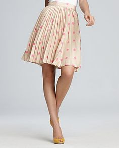 kate spade new york Melody Pretty Women Dot Printed Skirt - prefect beige/pink $368