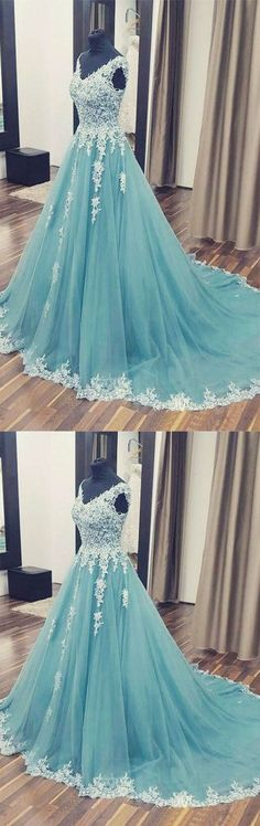 Elegant Ball Gown V Neck Open Back Teal Tulle White Lace Long Prom Dresses with Train, Beautiful Evening Dresses Elegant Ball Gown V Neck Open Back Teal Tulle White Lace Long Prom Dresses with Train, Beautiful Evening Dresses V Neck Prom Dresses, V Neck Wedding Dress, A Line Prom Dresses, Bridal Dresses, Evening Dresses, Teal Prom Dresses, Dress Prom, Long Dresses, Dress Long