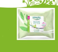 Free pack of the new Simple facial wipes with Vitamin E and pro Vitamin B5.