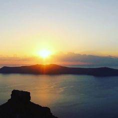 Sunset magic! View from Imerovigli to Skaros rock & caldera.