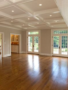 Red Oak Floor Design and coffered ceiling, Pictures, Remodel, Decor and Ideas. Küchen Design, Floor Design, Interior Design, Design Ideas, Interior Doors, Red Oak Floors, Hardwood Floors, Oak Flooring, Maple Flooring