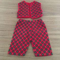 Schoene-alte-Puppenkleidung-Puppenhose-und-passende-Weste-50er-60er-Jahre