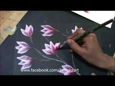 One Stroke Painting - Pink Flower on Stem (full Version)on demand - YouTube