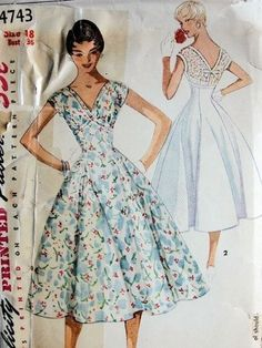 1950s vintage dress pattern with full skirt, courtesy of So Vintage Patterns.