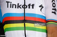 Detail photo of the UCI World Champion rainbow striped jersey of Peter Sagan of Slovakia riding for Tinkoff as he takes the podium after stage seven...
