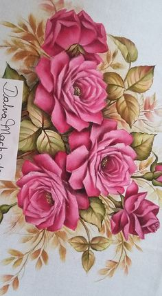 This Pin was discovered by Jua Beautiful Flowers Wallpapers, Beautiful Rose Flowers, Dress Painting, Fabric Painting, Fabric Paint Designs, Antique Wallpaper, Red Rose Bouquet, Acrylic Painting Techniques, Decoupage Vintage