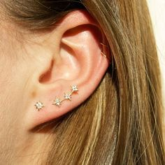 46fd4286e 9ct gold - climber earrings - star studs - stud earrings - constellation  earrings - studs - earrings - star earrings - gold studs -I3SF-6372