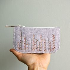 Wool Felt Coin Purse Wallet // Hand by LoftFullOfGoodies on Etsy