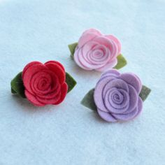 Felt Flower Clip Rosette Wool Felt Flower by thegenuinepoppy