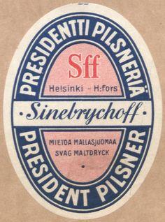 Presidentti pilsneriä #Sinebrychoff #Presidentti #beer #labels