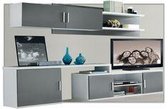 Moderna composición de salón también disponible en ceniza/plata y nogal/beige.