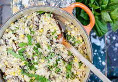 An easy recipe for baked risotto with corn, mushrooms and pork sausage. A one pot meal that can me made in 30 minutes.