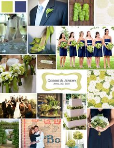 wedding colors: navy blue and lime green?