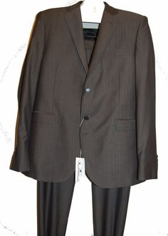 Pierre Balman Gray Stripes Dress Men Wool Suit Blazer Pants Sz US 48 EU 58 Italy #PierreBalman #TwoButton