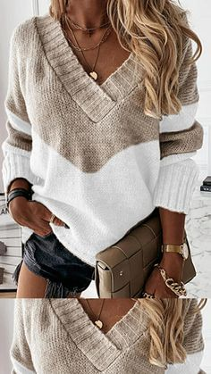 Womens Knit Sweater, Loose Sweater, Long Sleeve Sweater, Top Streetwear, Casual Tops For Women, Trendy Tops, Comfortable Fashion, Pullover Sweaters, Jumper