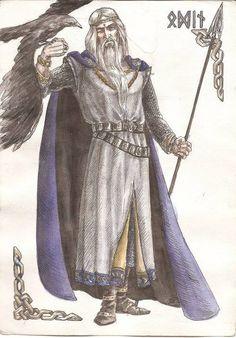 Óðinn, su papel, al igual que el de muchos dioses nórdicos, es complejo. Es el dios de la sabiduría, la guerra y la muerte. Pero también es considerado, aunque en menor medida, el dios de la magia, la poesía, la profecía, la victoria y la caza. Odín residía en el Asgard, en el palacio de Valaskjálf, que construyó para sí y donde se encuentra su trono, el Hliðskjálf, desde donde podía observar lo que sucedía en cada uno de los nueve mundos.