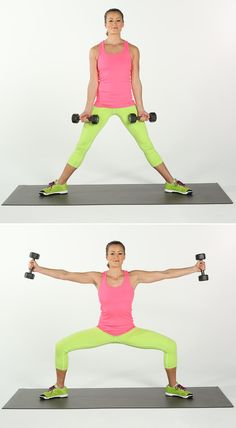 Stand with legs wide and toes pointed outward slightly. Hold a pair of dumbbells in your hands with your arms straight and your palms facing down. Bend your knees until your knees are over your ankles while raising your arms to just below shoulder height. Arms should be in line ...