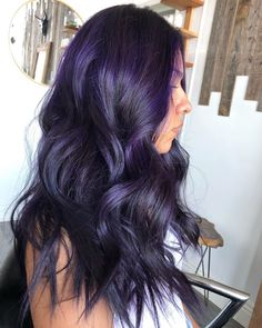 Oct 2019 - Gorgeous deep purple waves by - try our Magic Salem for a similar dark purple style! Purple Hair Black Girl, Deep Purple Hair, Hair Color Purple, Hair Dye Colors, Burgundy Hair, Hair Color For Black Hair, Purple Style, Dark Maroon Hair, Purple Hair