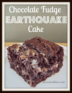 Delicious chocolate chips, cream cheese, and coconut swirled into a fudge cake! #earthquake #cake