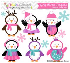 Girls Penguin Clipart , winter baby shower, winter birthday party