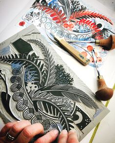 Angie Lewin working on her 2020 Christmas card Crafts To Make, Arts And Crafts, Angie Lewin, Limited Edition Prints, Christmas Cards, Illustration, House Accessories, Lino Prints, Instagram