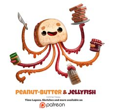 Daily Peanut-Butter and Jellyfish by Cryptid-Creations on DeviantArt Cute Food Drawings, Cute Animal Drawings, Kawaii Drawings, Animal Puns, Animal Food, Cute Creatures, Fantasy Creatures, Dibujos Cute, Leprechaun