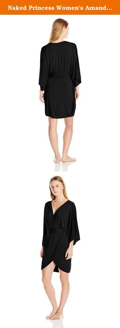 Naked Princess Women's Amanda Short Kimono Robe, Black, Petite/Small. This chic micro modal short robe with a flirtatious tulip hemline, 3/4 length sleeves and a traditional cinched waist provides a modern twist on the classic elegance of a kimono wrap.