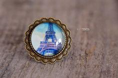"""Bague Cabochon rond """"Paris"""" Finition Bague Fantaisie bronze"""