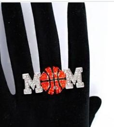 "rhinestone embellished Mom Basketball Ring with a Basketball as the ""O"" in MOM"