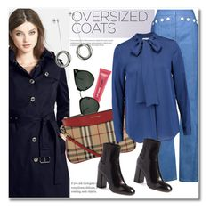 """""""Oversized Coats Dark Blue"""" by vkmd ❤ liked on Polyvore featuring Derek Lam, L'Oréal Paris, Spitfire, MICHAEL Michael Kors, Burberry, rag & bone, Tiffany & Co. and oversizedcoats"""