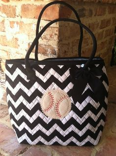 Quilted Baseball Tote in Chevron by BaseballAlley on Etsy, $25.00. Love this!