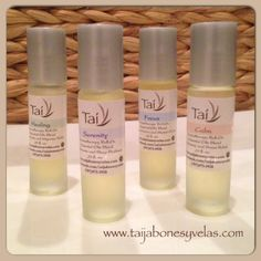 Aromatherapy Roll Ons by Taí Jabones y Velas:  Healing... for Headache and Migraine Relief,  Serenity... for Insomnia and Sleep Problems,  Focus... for Concentration and Mental Clarity,   Calm... for Anxiety and Stress Relief...  www.taijabonesyvelas.com