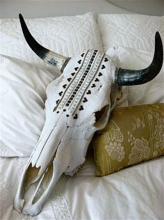 Items similar to Bindi Gone Wild on Etsy Cow Skull Decor, Cow Skull Art, Skull Head, Bull Skulls, Deer Skulls, Boho, Crane, Cow Head, Antler Art