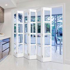 Internal Slimline Folding Doors – Page 2 Accordian Door, Florida Home Decorating, Booth Seating In Kitchen, Internal Folding Doors, Open Plan Kitchen Diner, Oak Doors, Single Doors, Patio Doors, Home Decor Furniture