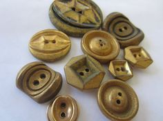 Vintage Buttons  antique gold salesman's samples by pillowtalkswf, $5.25