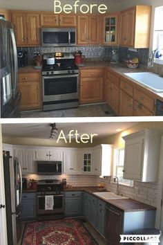 4 Quick ideas: Old Kitchen Remodel Small farmhouse kitchen remodel legs.Mobile Home Kitchen Remodel Diy kitchen remodel wall removal upper cabinets.Mid Century Kitchen Remodel Before After. Kitchen Tops, Kitchen Dining, Kitchen Cabinetry, Kitchen Backsplash, Updating Kitchen Cabinets, Smart Kitchen, Awesome Kitchen, Two Tone Kitchen Cabinets, Two Toned Cabinets
