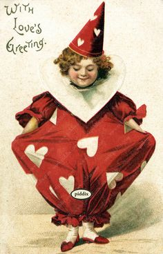 Super-cute vintage Victorian-era Valentine with clown in red outfit with hearts. One of more than 100 #vintage victorian-era #valentines available from piddix for licensing. PDXC8373b