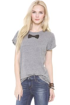 Make a STATEMENT! Perfect Shirt for a Black Tie Affair! ;) Great Conversation Piece! lol Black  Bow Tie  Decorated Short Sleeves Casual Grey T-shirt