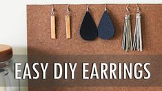 [gs-fb-comments] Let's learn how to make 3 EASY leather earrings with minimal supplies! Purchase Supplies Here: Thicker Leather Scraps: Jewelry Tool Kit: Add Essential Oils to the backs! Diy Tassel Earrings, Diy Leather Earrings, Leather Tassel, Leather Jewelry, Beaded Earrings, Gold Earrings, Diy Earrings Easy, Pendant Earrings, Jewelry Tools