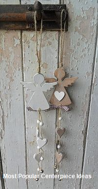 Hanging angel with hearts & bell - Hearts and Hens - Country Christmas.possible salt dough ornaments? Angel Crafts, Christmas Projects, Holiday Crafts, Diy Christmas, July Crafts, Crochet Christmas, Homemade Christmas, Clay Ornaments, Angel Ornaments