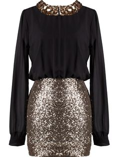 black long-sleeve bodice with gold body-con skirt and gold peter pan collar