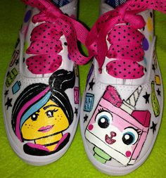 Perfect for your little Lego fan! These adorable tennis shoes are hand painted by yours truly :) Each pair of canvas shoes are painted with non-toxic Toddler Shoes, Boys Shoes, Sharpie Shoes, Painted Canvas Shoes, Used Vans, Lego For Kids, Decorated Shoes, Lego Movie, Custom Paint
