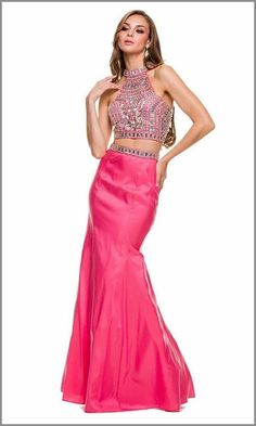 Two-Piece Prom Dress Watermelon Beaded Top and Mermaid Skirt