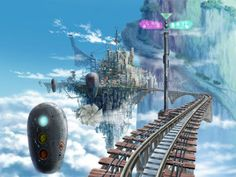 The Playstation 2 game Ar tonelico: Melody of Elemia was set on a floating landmass called 'Sol Ciel', near which floats the city of Platina and its imposing tower, Ar tonelico. The city is rendered in detail in this concept drawing, showing the land mass in the background and train tracks resembling a roller coaster which provide access to the city and wind around it.