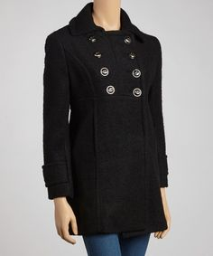 A double-breasted design and contouring seams bring stylish appeal to this polished pea coat. Made with a cozy wool blend, it's sure to stay a cold-weather favorite for seasons to come.Measurements (size 4P): 30'' long from high point of shoulder to hemShell: 53% polyester / 47% woolLining: 100% polyester