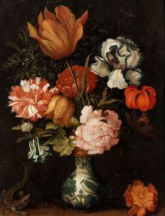 Balthasar van der Ast, 1593 Middelburg - 1657 Delft STILL LIFE WITH BOUQUET IN A WAN LI VASE WITH A LIZARD